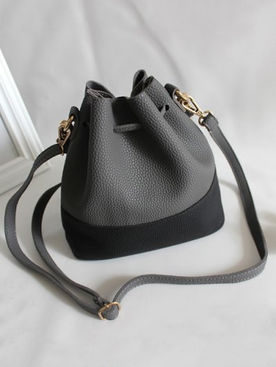 Faux Leather Color Block Bucket Bag - DEEP GRAY  Mobile