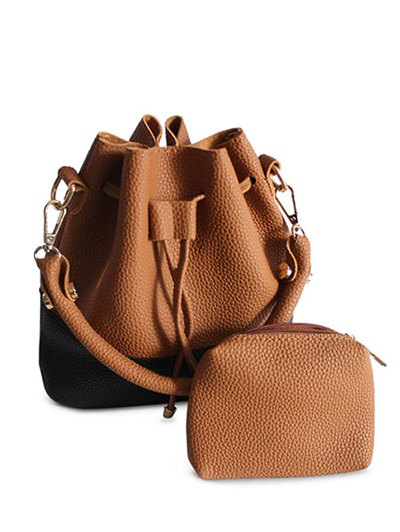 Faux Leather Color Block Bucket Bag - BROWN  Mobile