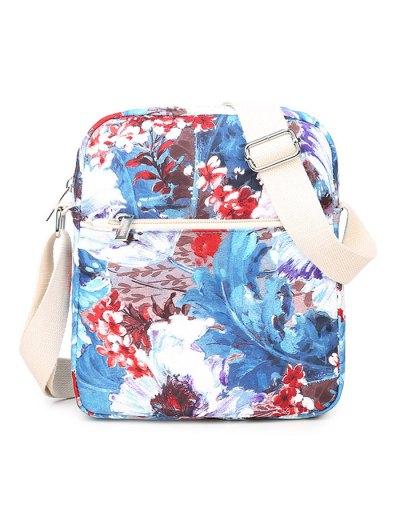 Flower Painted Backpack Set - BLUE  Mobile
