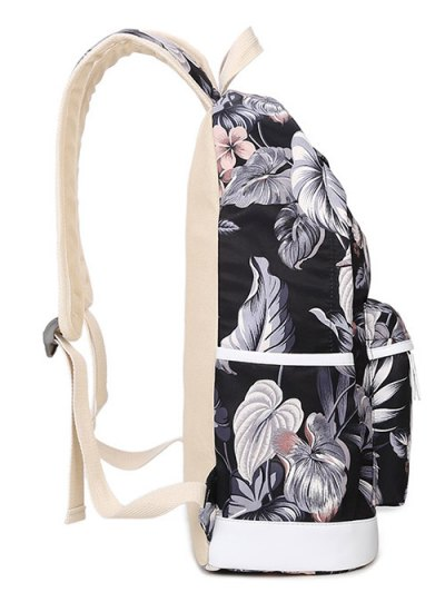 3 Pcs Flower Printed Backpack Set - BLACK  Mobile