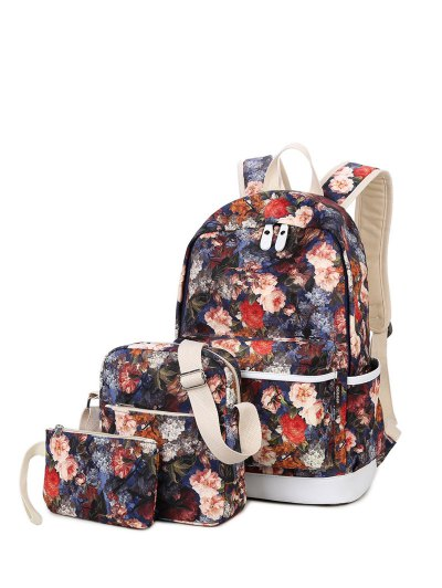 3 Pcs Flower Printed Backpack Set - RED  Mobile