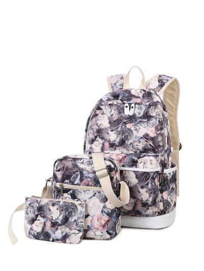 3 Pcs Flower Printed Backpack Set - GRAY  Mobile