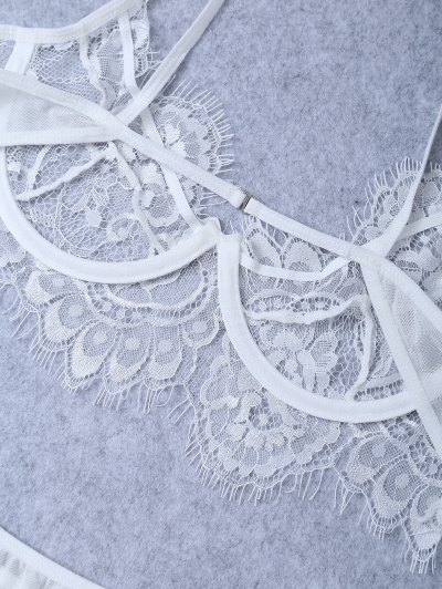 Underwire Sheer Lace Bra and Panty - WHITE L Mobile