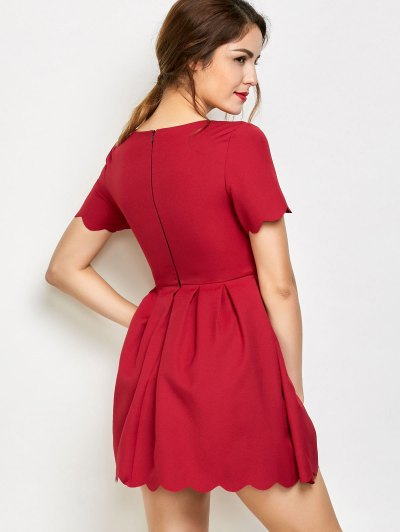 Ruched Scalloped A-Line Dress - RED S Mobile