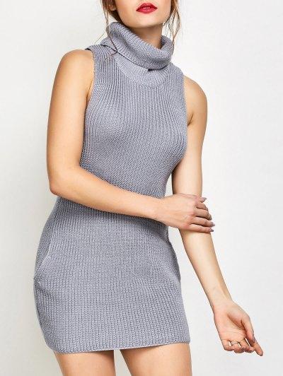 Sleeveless Cowl Neck Sweater Dress - GRAY L Mobile