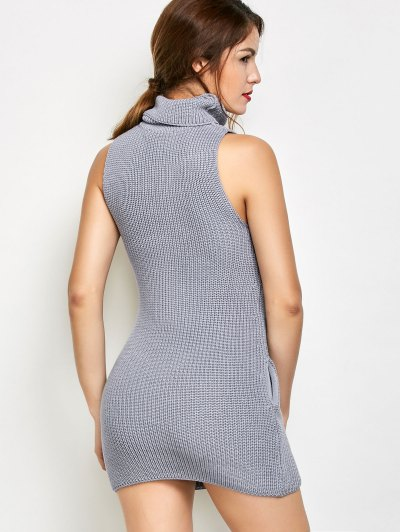 Sleeveless Cowl Neck Sweater Dress - GRAY XL Mobile