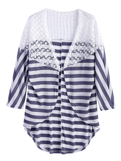 Hollow Out Striped Cardigan - STRIPE S Mobile