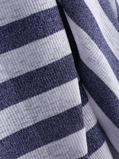 Hollow Out Striped Cardigan - STRIPE M Mobile