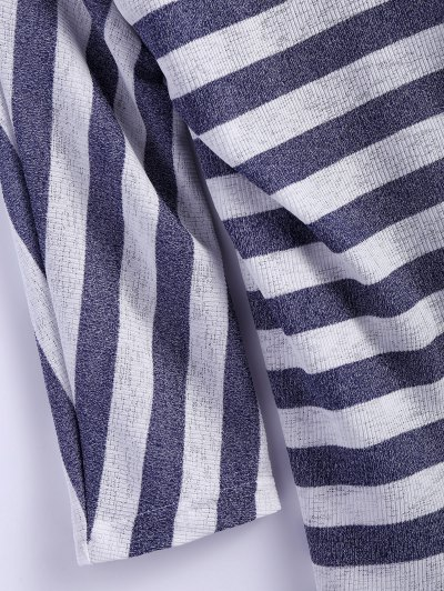 Hollow Out Striped Cardigan - STRIPE L Mobile