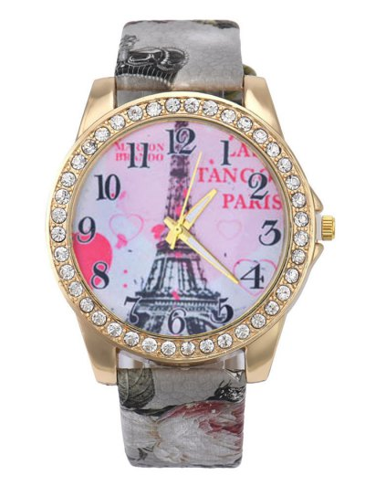 Faux Leather Band Eiffel Tower Quartz Watch - GRAY  Mobile
