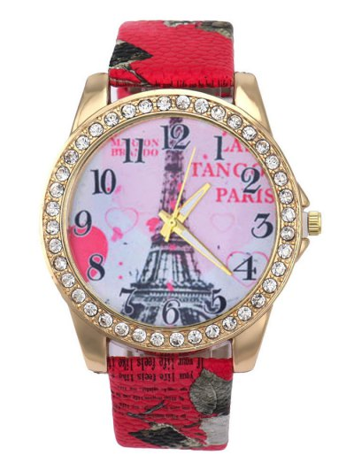 Faux Leather Band Eiffel Tower Quartz Watch - RED  Mobile