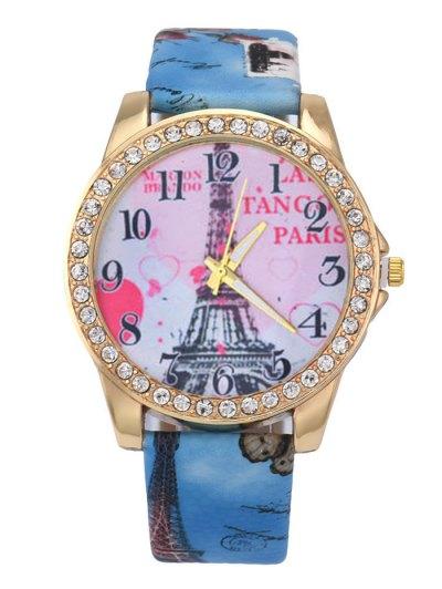 Faux Leather Band Eiffel Tower Quartz Watch - BLUE  Mobile