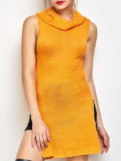 Side Slit Turtleneck Vest Sweater - YELLOW 2XL Mobile