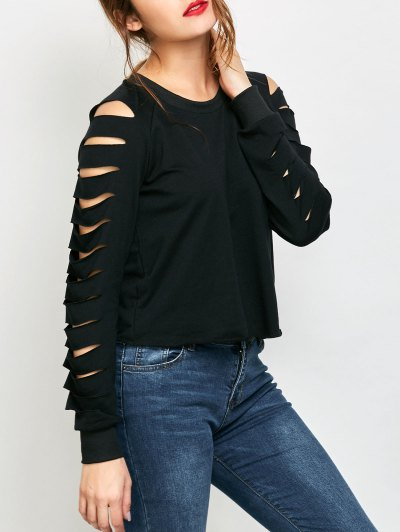 Fitting Ripped Sleeve T-Shirt - BLACK 2XL Mobile