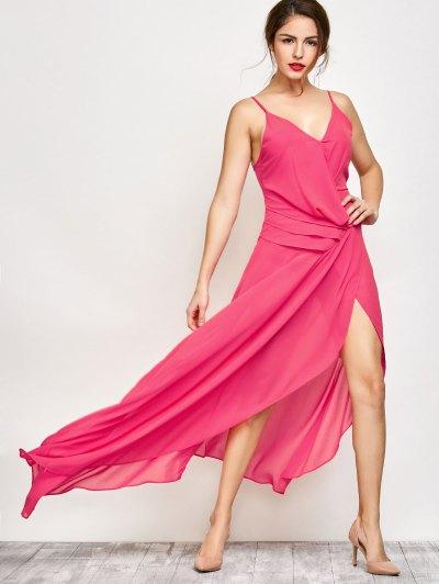 High Slit Asymmetric Prom Dress - SANGRIA L Mobile
