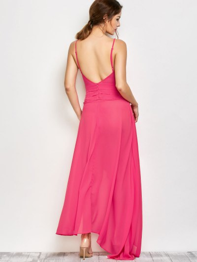 High Slit Asymmetric Prom Dress - SANGRIA XL Mobile