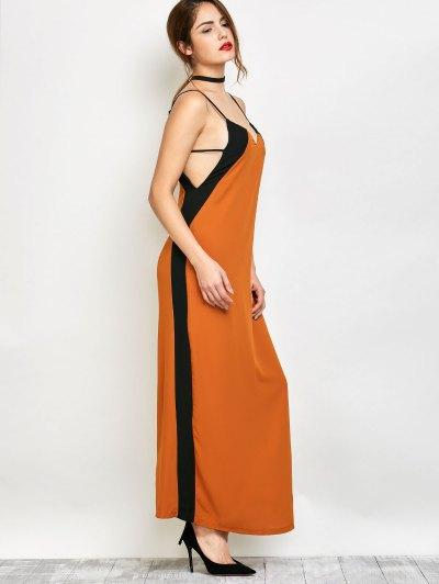 Contrast Stripe Maxi Slip Dress - CAMEL S Mobile