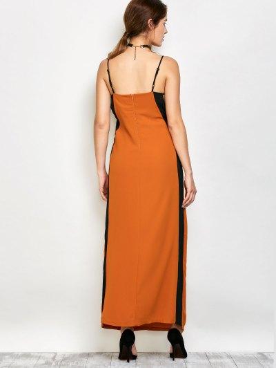 Contrast Trim Maxi Dress - CAMEL M Mobile