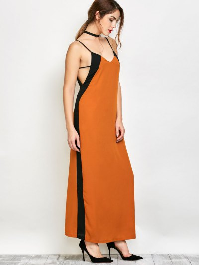 Contrast Stripe Maxi Slip Dress - CAMEL XL Mobile