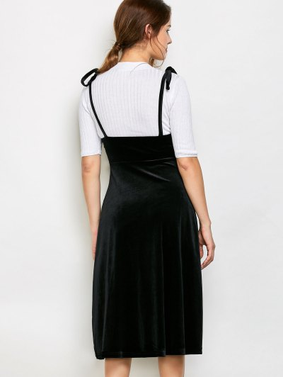 Shoulder Tie Velvet Pinafore Dress - BLACK S Mobile