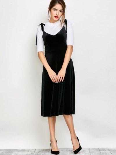 Shoulder Tie Velvet Pinafore Dress - BLACK M Mobile