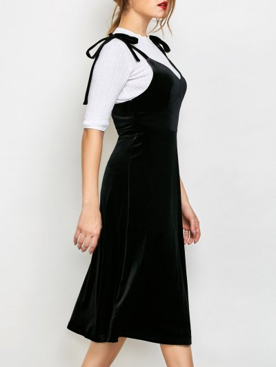 Shoulder Tie Velvet Pinafore Dress - BLACK XL Mobile