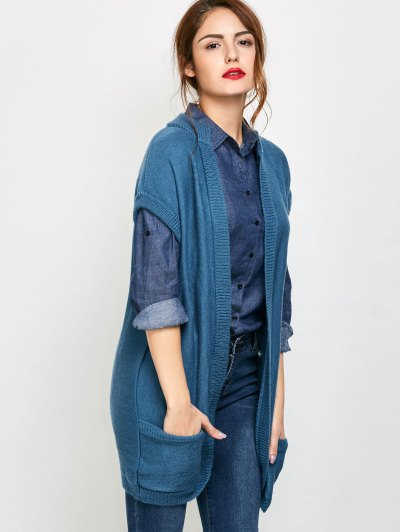 Short Sleeve Knitted Cardigan with Pockets - BLUE M Mobile