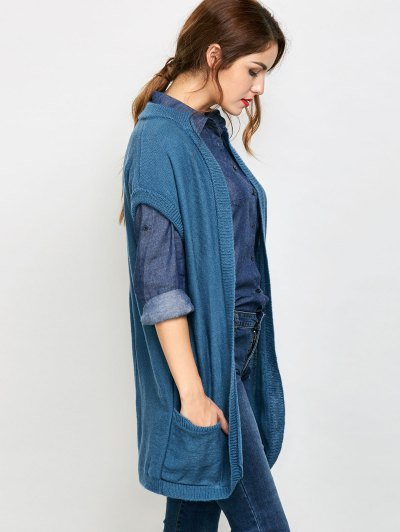 Short Sleeve Knitted Cardigan with Pockets - BLUE XL Mobile