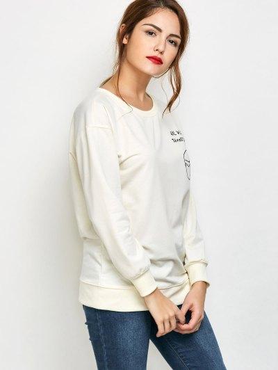 Graphic Skew Neck Oversized Sweatshirt - OFF-WHITE L Mobile