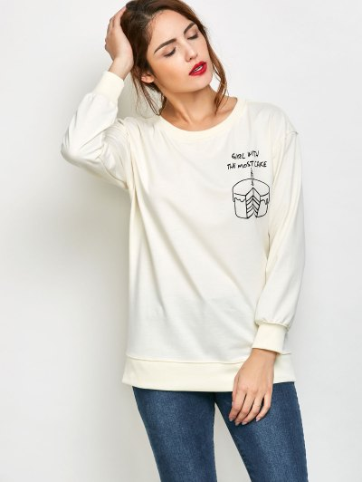 Graphic Skew Neck Oversized Sweatshirt - OFF-WHITE XL Mobile