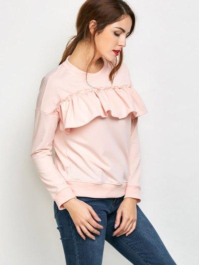 Ruffles Jewel Neck Sweatshirt - PINK L Mobile
