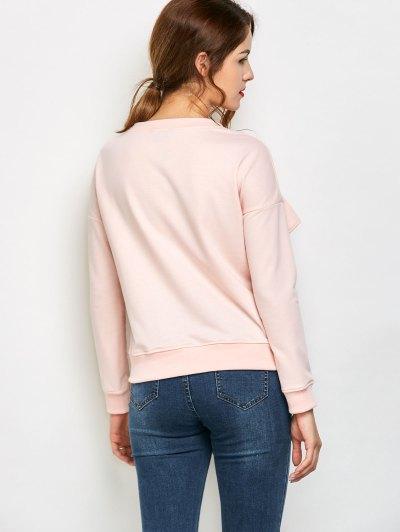 Ruffles Jewel Neck Sweatshirt - PINK 2XL Mobile
