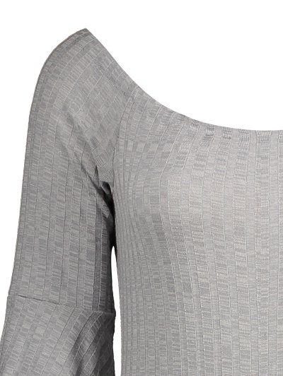 Off The Shoulder Flare Sleeve Bodysuit - GRAY M Mobile