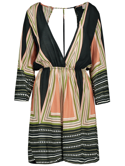Striped Plunging Neck Romper - COLORMIX M Mobile