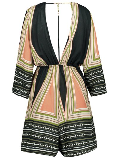 Striped Plunging Neck Romper - COLORMIX XL Mobile