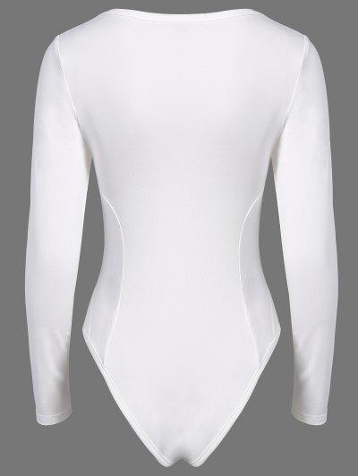 Alien Print Long Sleeve Bodysuit - WHITE L Mobile