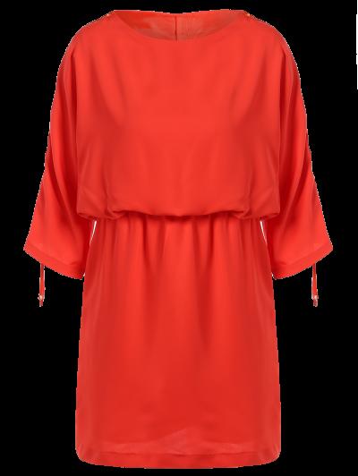 Drawstring Sleeve Waist Slimming Dress - ORANGE RED S Mobile