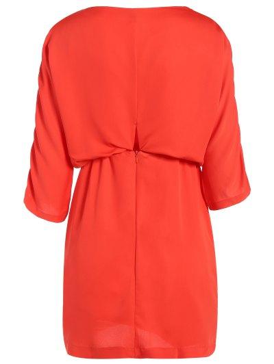 Drawstring Sleeve Waist Slimming Dress - ORANGE RED L Mobile