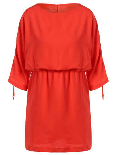 Drawstring Sleeve Waist Slimming Dress - ORANGE RED 2XL Mobile