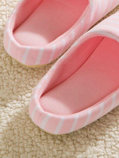 Color Block Flat Heel Stripe House Slippers - PINK 37 Mobile