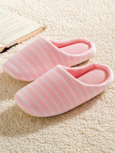 Color Block Flat Heel Stripe House Slippers - PINK 39 Mobile