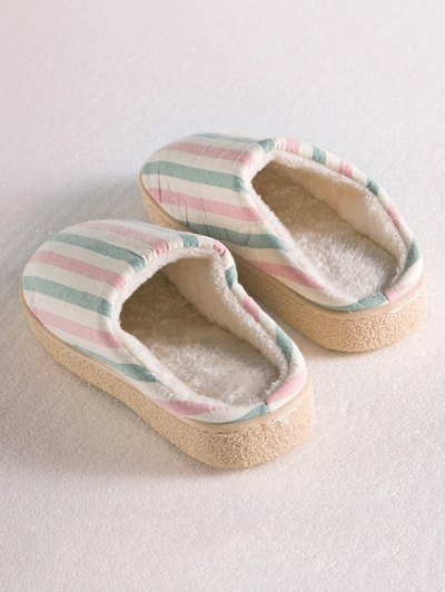 Flat Heel Striped Flocking House Slippers - PINK SIZE(38-39) Mobile