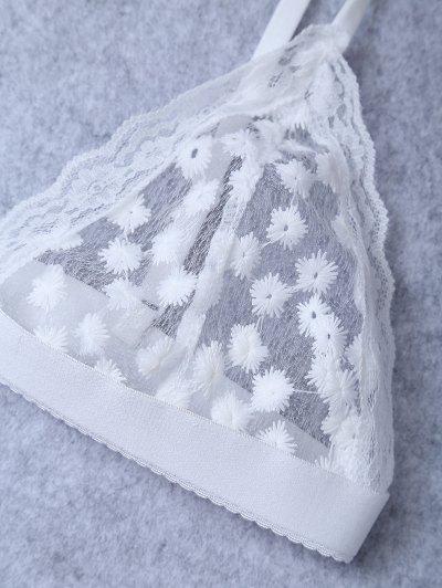 Embroidered Sheer Mesh Bra - WHITE M Mobile