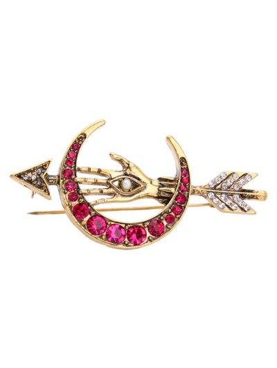 Faux Pearl Rhinestone Moon Arrow Brooch - GOLDEN  Mobile