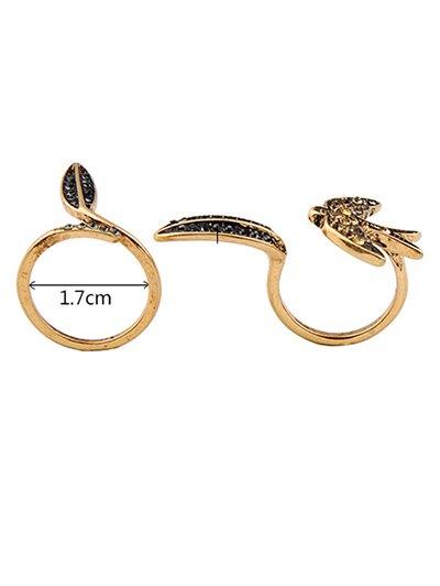 Rhinestone Leaf Bird Cuff Ring Set - GOLDEN ONE-SIZE Mobile