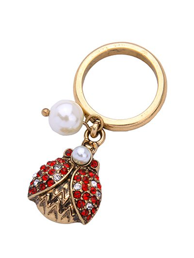 Rhinestone Faux Pearl Insect Ring - GOLDEN ONE-SIZE Mobile