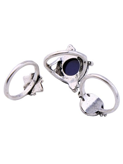 Artificial Sapphire Ring Set - SILVER ONE-SIZE Mobile