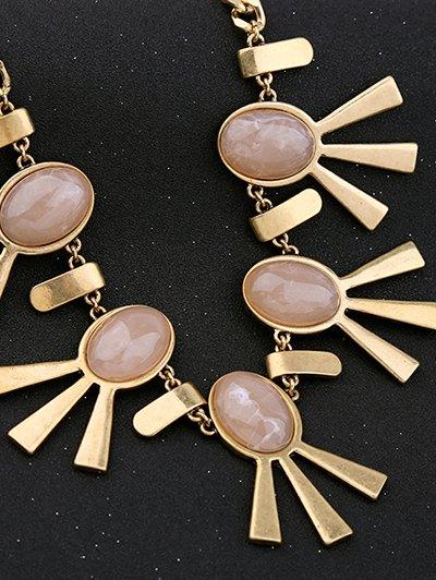 Artificial Gem Oval Adorn Vintage Necklace - PINK  Mobile