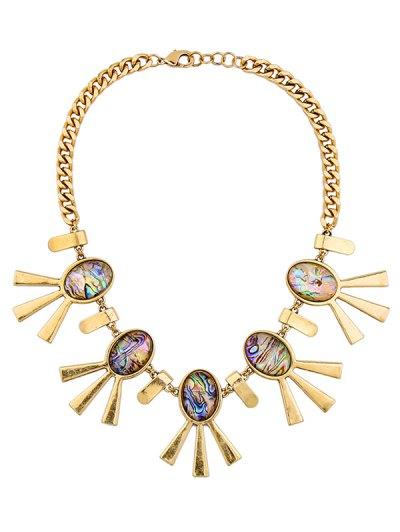Artificial Gem Oval Adorn Vintage Necklace - COLORMIX  Mobile