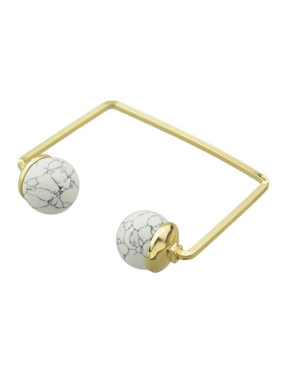 Artificial Gem Ball Cuff Bracelet - WHITE  Mobile